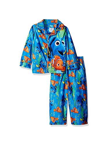 Flannel Coat Style Pajamas - Finding Dory Nemo Little Boys Flannel Coat Style Pajamas (4T, Ocean Blue)