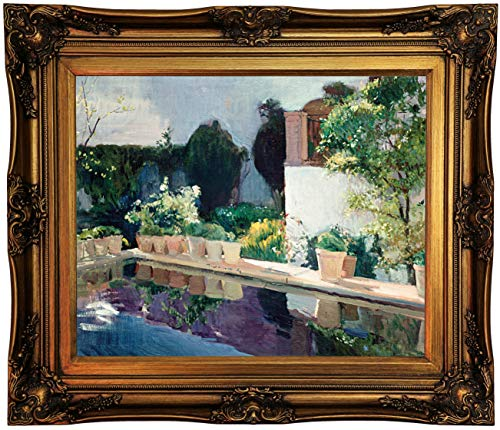 Historic Art Gallery Palace of Pond, Royal Gardens in Seville 1910 by Joaquín Sorolla Framed Canvas Print, Size 16x20, Gold