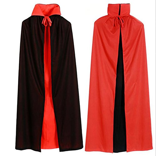 Double Halloween Costumes (Halloween Vampire Led Mask and Double Face Black and Red Robe Cloak Cosplay Costume Perfect for Halloween,Cosplay Party)