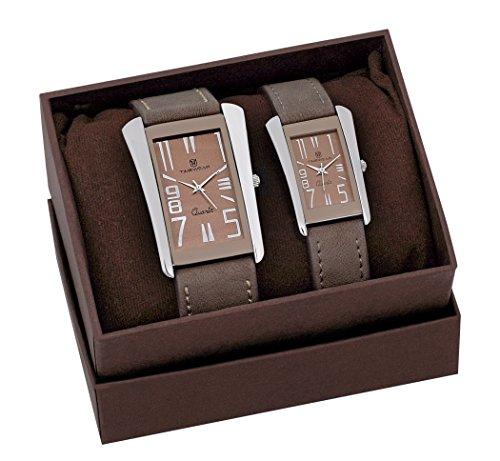 H Timewear Analog Brown Dial Couple Watch – 908BDTCOUPLE