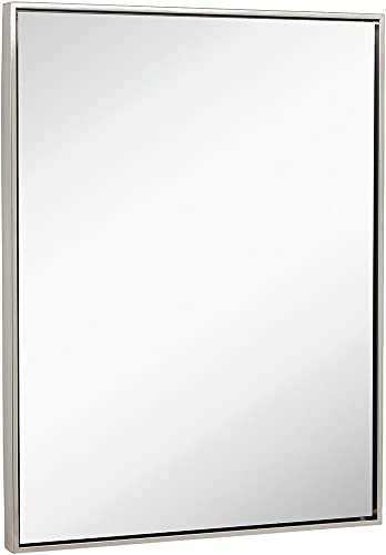 Clean Large Modern Brushed Nickel Frame Wall Mirror Contemporary Premium Silver Backed Floating Glass Vanity, Bathroom Metal Frame Mirrored Rectangle Hangs Horizontal or Vertical 30 x 40
