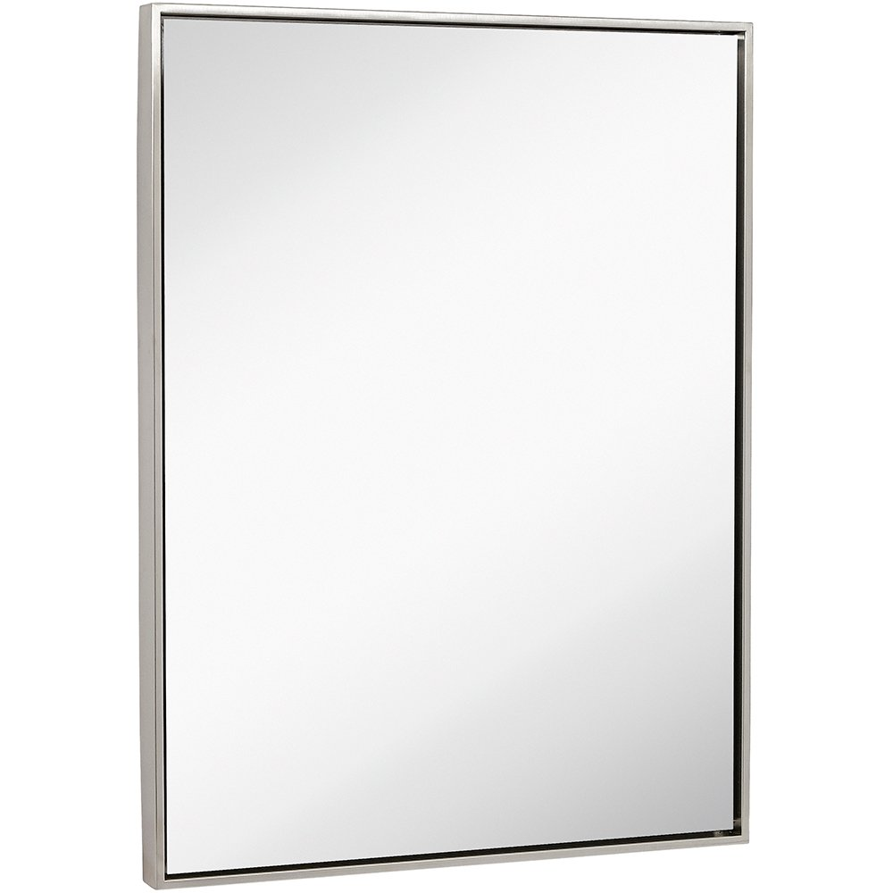 """Clean Large Modern Brushed Nickel Frame Wall Mirror   Contemporary Premium Silver Backed Floating Glass   Vanity, Bedroom, or Bathroom   Mirrored Rectangle Hangs Horizontal or Vertical (30"""" x 40"""")"""
