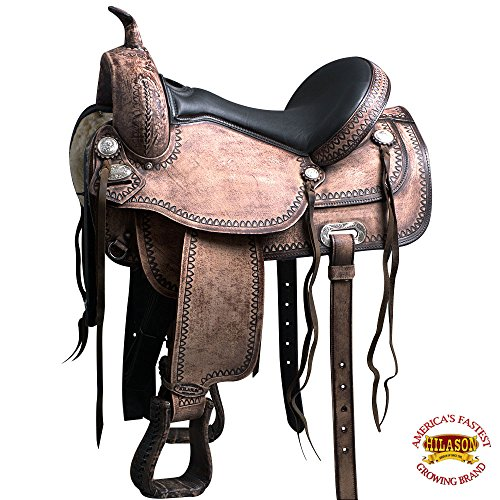 HILASON 18″ Western Arabian Horse Saddle American Leather Flex Tree Trail T100