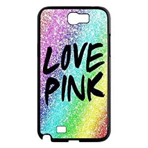 Custom Cover Case with Hard Shell Protection for Samsung Galaxy Note 2 N7100 case with Love Pink lxa#217019