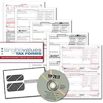 Tangible Values W-2 Laser Forms (4-Part) Kit with Envelopes Plus TFP Software for 25 Employees (2017)