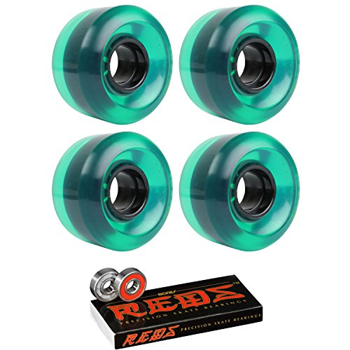TGM Skateboards Skateboard Cruiser Wheels 58mm x 36mm 83A 341C Green Clear Bones Reds Bearings
