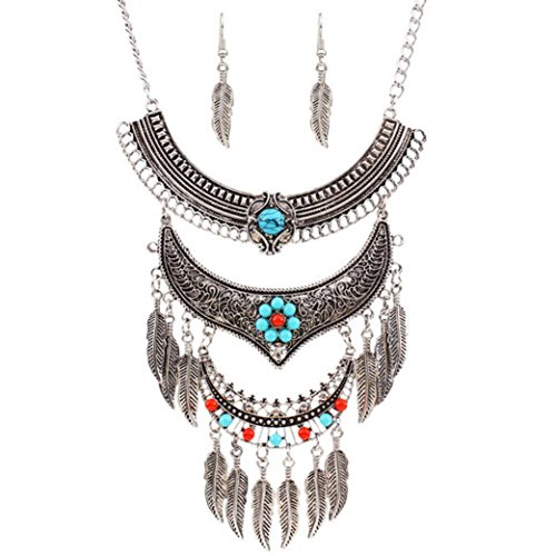 Euone Fashion Womens Metal Tassels Pendant Chain Bib Necklace Earrings Jewelry Set (Silver) - Metal Chain Earrings