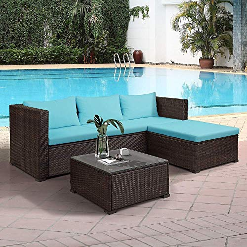 MIERES 3 Piece Wicker Patio Furniture Set Outdoor Rattan Sectional Conversation Set Garden Poolside Balcony Furniture Set Sofas, Table, Cushioned Seats (Blue Cushion)