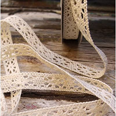 "1/2"" Crochet Lace Cotton Ribbon Trim Pattern Gift Wrap Decor Ideas 10 Yard Roll - Ivory from Harvest Imports (Har-)"