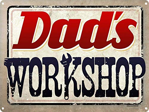 WINDST Personalised Dad's Workshop Cool 11.8 X 7.9 in Vintage Metal Tin Sign Plaque Wall Art Poster Decoration