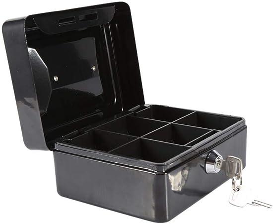 DGTRHTED Mini Caja de Seguridad - Caja Fuerte de Seguridad portátil de Acero con Cerradura de Moneda del Dinero en Efectivo (Negro): Amazon.es: Hogar