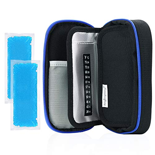 YOUSHARES Insulin Cooler Travel Case - Medication Diabetic Insulated Organizer Portable Cooling Bag for Insulin Pen and Diabetic Supplies with 2 Cooler Ice Pack (Black)