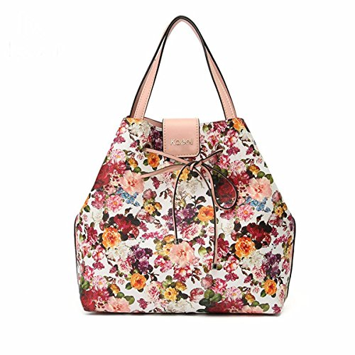 Purse Women Pattern Top Bags White Tote Handbag Shoulder For Bag Ladies Floral Kadell Black handle wfaFw7