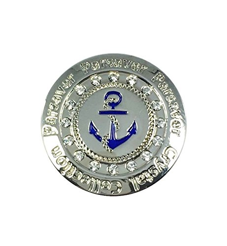 Swarovski Crystal Golf Ball Marker – with Hat Belt Clip – Parsaver Deluxe Navy Anchor Design – Unmatched Brilliance and Sparkle on the greens.
