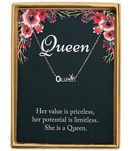 925 Sterling Silver Crown Queen With CZ 925 Pendant Word Necklace Birthday Gift Christmas Gift for Women