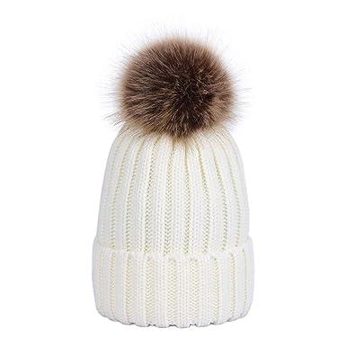 906536ab443 Lau s Bonnet Pompom Bebe Garcon Bonnets de Ski Enfant avec Pompon  Détachable Blanc  Amazon.fr  Vêtements et accessoires