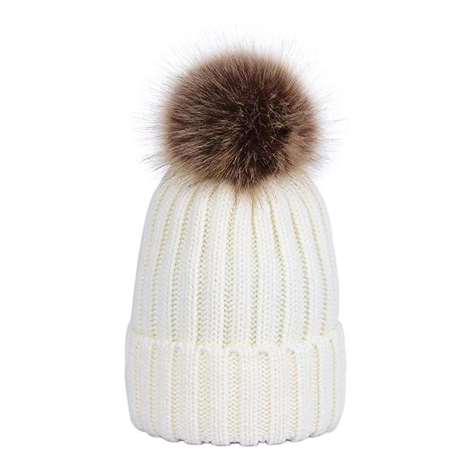 Lau s Bambini cappelli caldi di maglia ragazzo cappello pon pon pelliccia  staccabili bianco a417e8847ba0