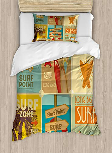(Lunarable Surf Duvet Cover Set Twin Size, Retro Posters Group Summer Vacation Theme Hobby Water Sports California Beach, Decorative 2 Piece Bedding Set with 1 Pillow Sham, Pale Brown)