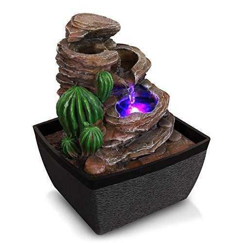 SereneLife 3-Tier Desktop Electric Water Fountain Decor w/ LED - Indoor Outdoor Portable Tabletop Decorative Zen Meditation Waterfall Kit Includes Submersible Pump & 12V Power Adapter ()