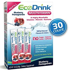 EcoDrink Complete Multivitamin Mix Drink. Blueberry Pomegranate Flavor - 30 Count Refill Pack (Bottle not included)