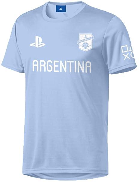 Sony Playstation FC - Argentina - Hombre Oficial Camiseta de Fútbol - Azul, M