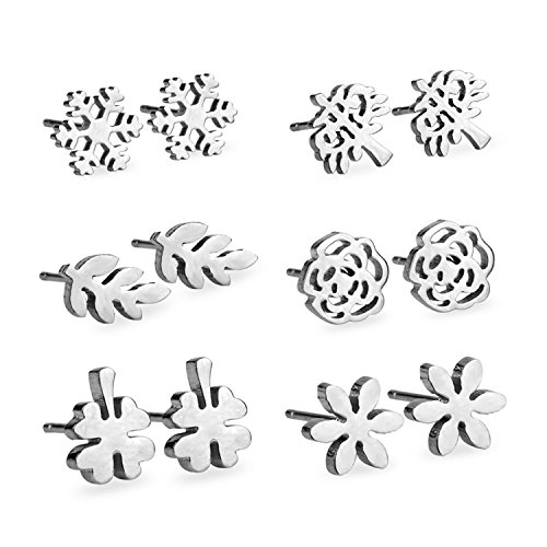 LUXUSTEEL Fashion Flowers Stainless Steel Stud Earring Set,Stud Earrings 6 Pairs for Women & Girls Silver (Stainless Steel Earrings Flower)