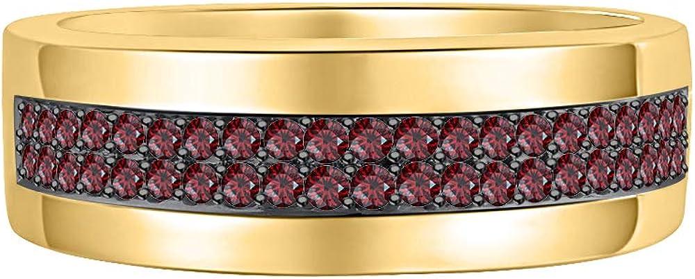RUDRAFASHION Two Row Mens Wedding Half Eternity Band Ring 1.00Ctw Round Cut Gemstone 14k Yellow Gold Over .925 Sterling Silver