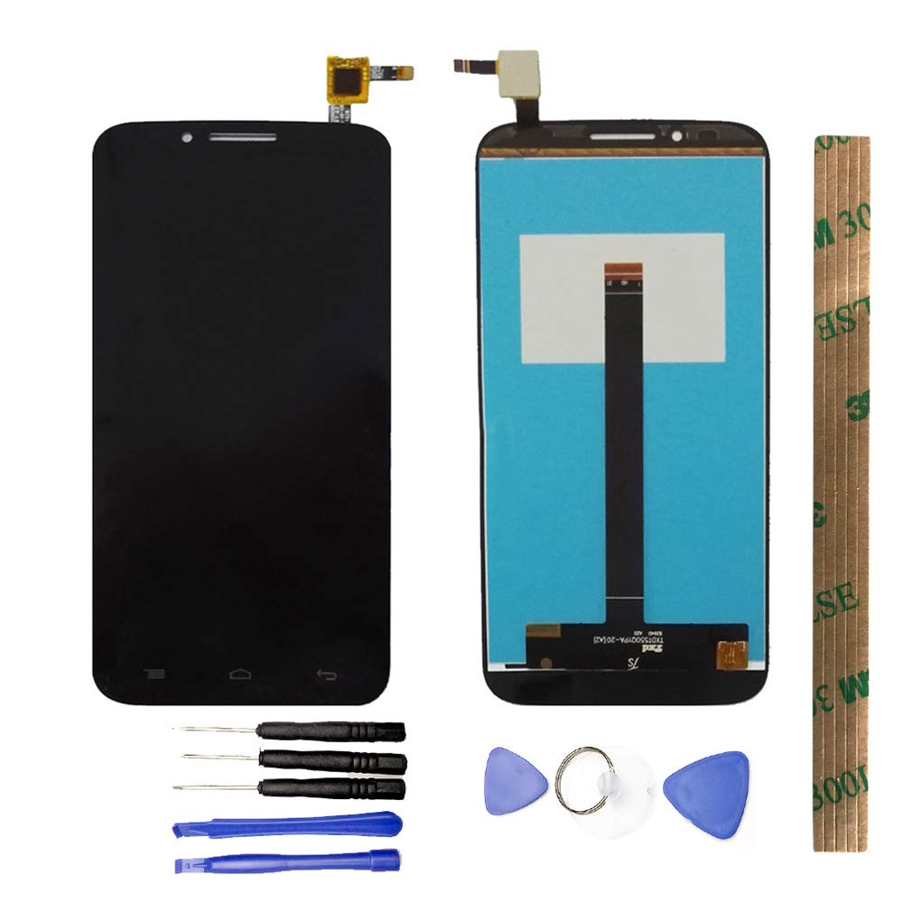 JayTong LCD Display & Replacement Touch Screen Digitizer Assembly with Free Tools for Alcatel one Touch Flash Plus 7054T OT-7054T 7054 Black by JayTong