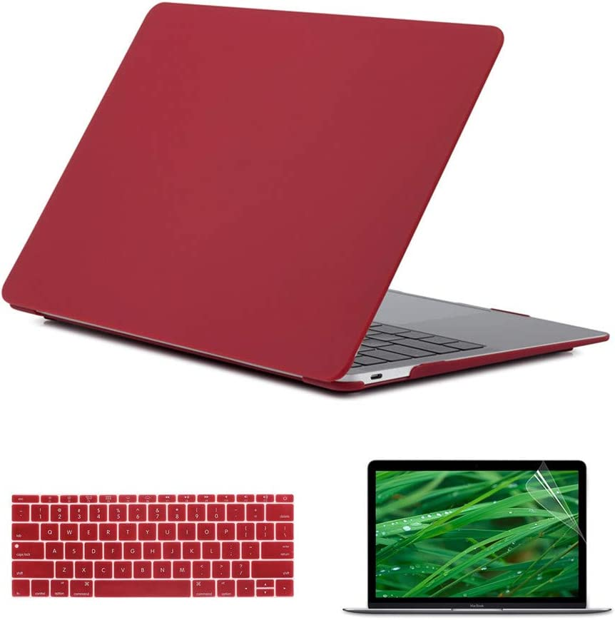 Se7enline MacBook Case 12 inch 2015/2016/2017/2018/2019 Laptop Hard Shell Cover Case for MacBook 12-Inch Model A1534 with Retina Display, Silicone Keyboard Cover+ LCD Screen Protector, Wine Red