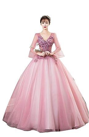 0dec1ec9de1a2 舞踏会ドレス 花柄 パーティードレス 結婚式 ラウンドネック ウェディングドレス ボリューム感 パフスリーブ