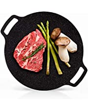 UPIT Korean Nonstick Round Griddle, 5-Ply Marble Coating Roti Tawa Induction Compatible Multipurpose Stovetop BBQ Grill Pan for Indoor Outdoor