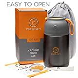 thermos with spoon - Energify Vacuum Insulated Stainless Steel Food Jar 22 oz – For Hot or Cold Food – Hassle-Free Food-Grade – Ideal as Adults or Kids Thermos Food Jar or Soup Thermos