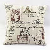 Cotton Linen Decorative Throw Pillow Fully assembled (Paris post card)