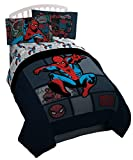 Marvel Spider Man Jump Kick Twin Comforter - Super Soft Kids Reversible Bedding Features Spiderman - Fade Resistant Polyester Microfiber Fill (Official Product)
