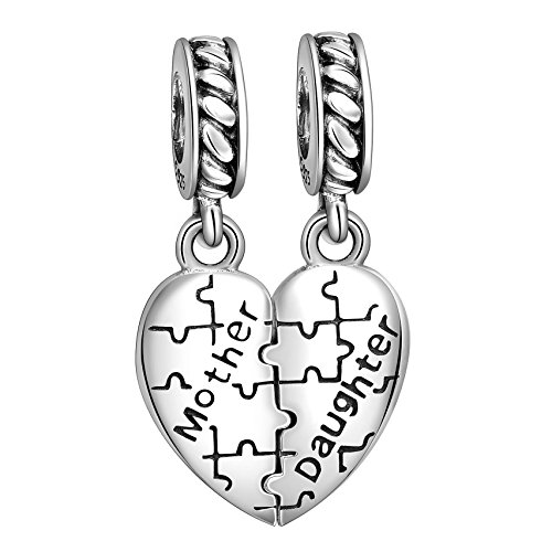 Angemiel 925 Sterling Silver Mother Love Daughter Heart Puzzle Dangle Charms Bead for European Snake Bracelets
