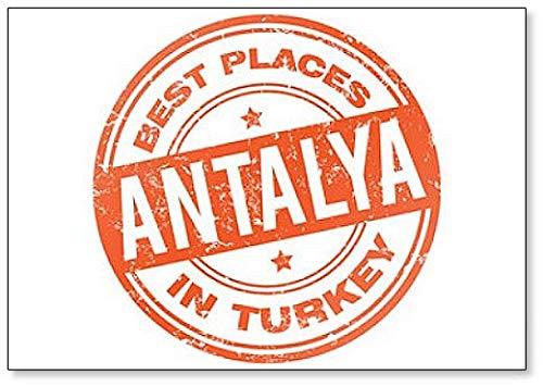 Antalya Turkey Stamp Illustration Fridge Magnet (Antalya Best Places To Visit)
