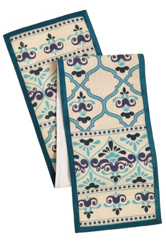 Cotton Craft Moroccan Tile with Crown Jute Table Runner - 13