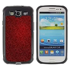 Fuerte Suave TPU GEL Caso Carcasa de Protección Funda para Samsung Galaxy S3 I9300 / Business Style Wallpaper Red Vintage Pattern Dark Art