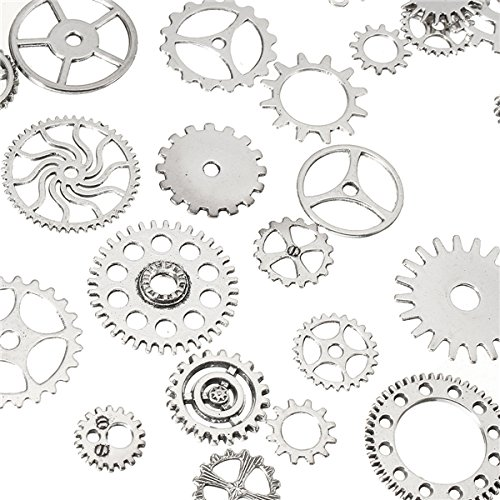 (Kisstaker 60-70Pcs Steampunk Altered Art Craft Cyberpunk Gear Wheels Decoration Part)