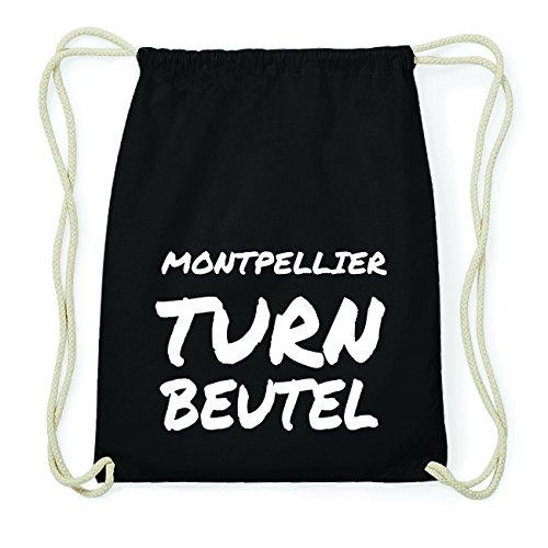 JOllify MONTPELLIER Hipster Turnbeutel Tasche Rucksack aus Baumwolle - Farbe: schwarz Design: Turnbeutel