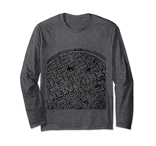 Unisex Street Art Grunge-Style New York Manhole Cover Upban T Shirt 2XL Dark Heather