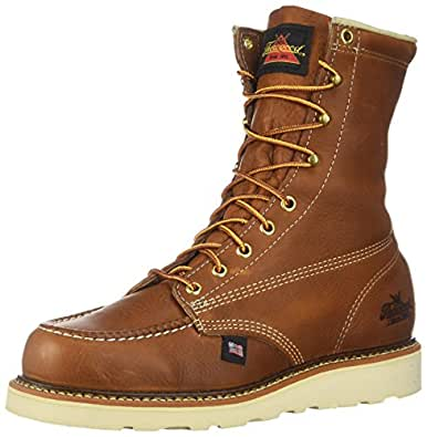 "Thorogood 814-4201 Men's American Heritage 8"" Moc Toe, MAXwear Wedge Non-Safety Toe, Tobacco Oil-Tanned - 7 D US"