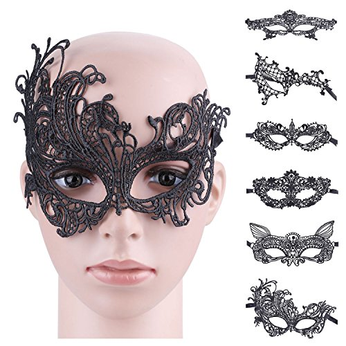 Lace Face Mask (Lace Masquerade Mask,Aniwon 6 pack Sexy Venetian Black Lace Face Eye Mask for Party Prom Ball Halloween)