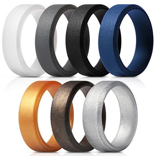 Saco Band Men's Silicone Rings Polished Aspect with Angled Design - 7 Pack Rubber Wedding Bands