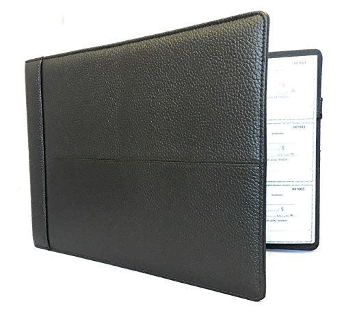 Officewerks Executive Check Binder, Black Padded Leather Look and Feel, 7 Ring w/Zip Pouch, For 9x13 Inch Sheets - Executive Checkbook Cover