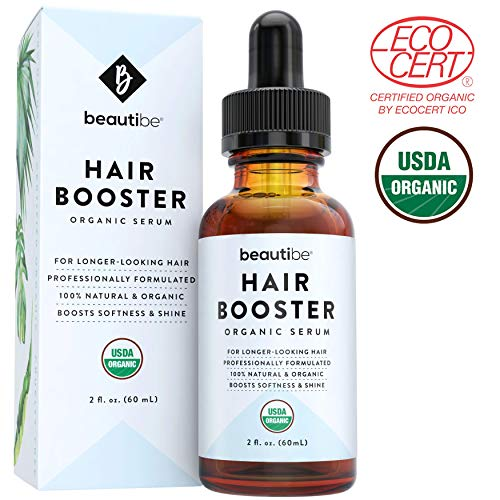 Hair Growth Serum with Castor Oil & Essential Oils (2oz) - 100% Pure, Natural & Organic - Nourishing Scalp Treatment to Boost Density & Shine for Longer, Thicker Hair. Great for Men & Women | BeautiBe