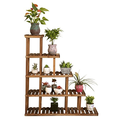 LIZX Carbonized Preservative Wood Flower Racks Solid Wood Multi - Storey Plant Display Stand Corner Storage Shelves by Flower Pot Stand