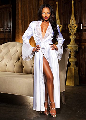 Shirley of Hollywood Long Robe Charmeuse-Chiffon (White;Large/X-Large) ()