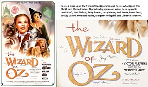 The Wizard of Oz Signed - Autographed Full Size 22x34 inch Movie Poster by 9 Munchkin Actors - all Deceased - Guaranteed to pass PSA/DNA or JSA from Real Deal Memorabilia