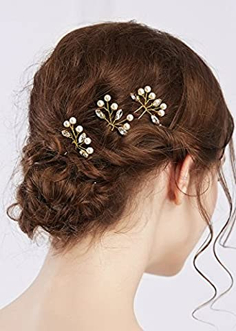 Missgrace 3pcs Bridal Handmade Crystal Hair Pins Clips for Women Hair Styling (Hair Pin Gold)